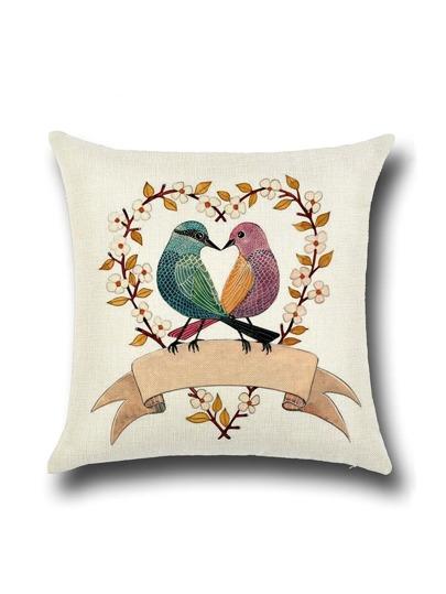 Funda de almohada con estampado de pájaros - albaricoque