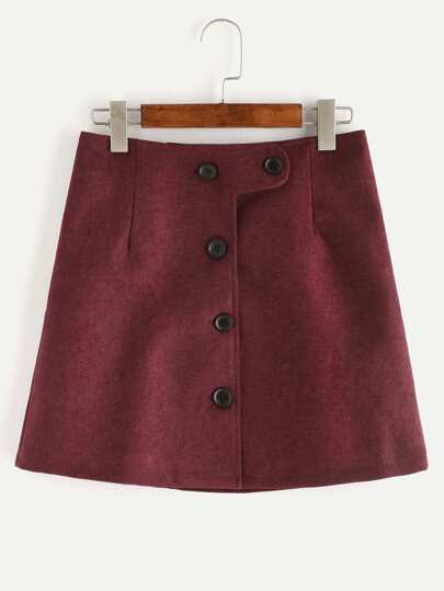 Red Button Up A Line Skirt