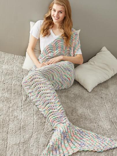 Mehrfarbig Marled Wave Knit Öse Mermaid Tail Decke