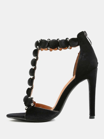 Pom Pom T-Strap High Heels BLACK