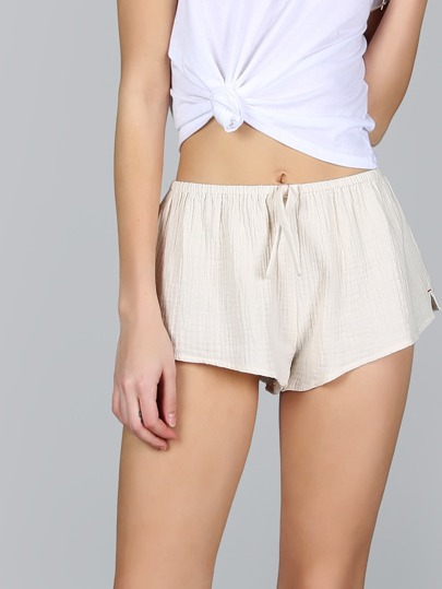 Crinkled Flow Pajama Shorts CREAM