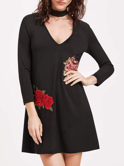 Black Deep V Neck Embroidered Rose Applique Tee Dress