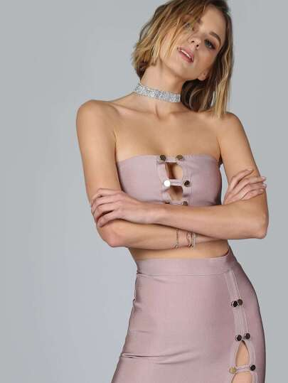 Double Button Bandage Bandeau Top MAUVE