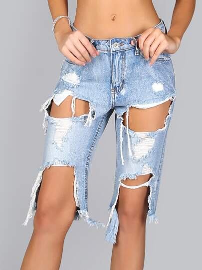 Destroyed Bermuda Denim Pants DENIM