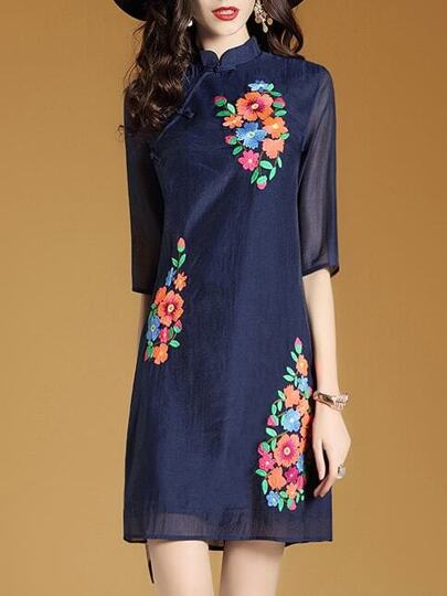 Navy Flowers Embroidered Shift Dress