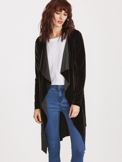 Black Waterfall Collar Velvet Wrap Coat