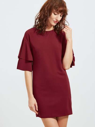 Burgundy Layered Ruffle Sleeve Bodycon Dress