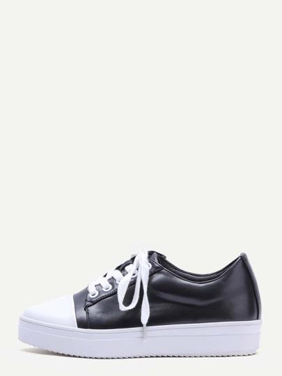Black Contrast Tone Lace Up Shoes