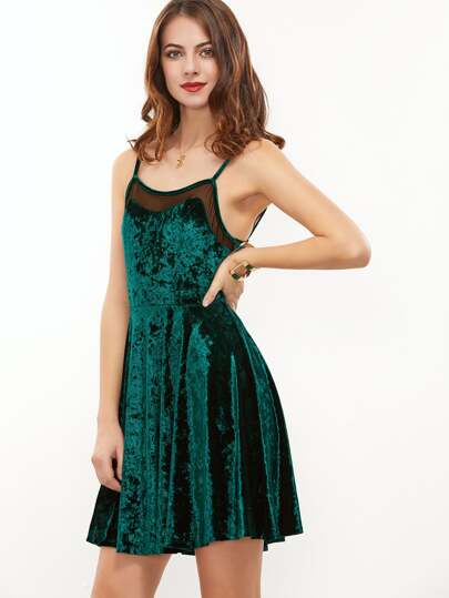 Green Mesh Insert Velvet Cami Dress