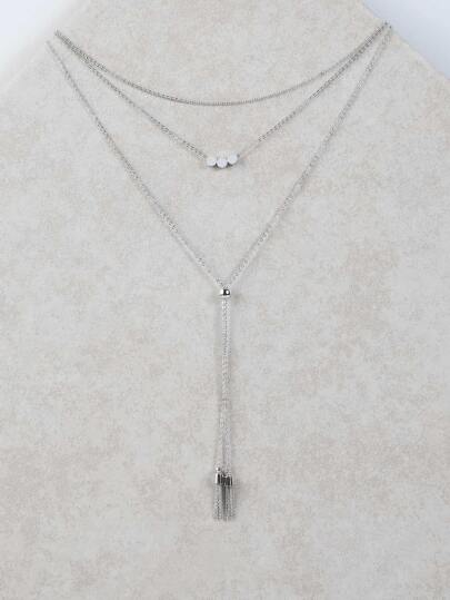 Layered Dainty Pendant Necklace SILVER