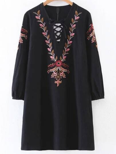 Black Embroidery Detail Lace Up V Neck Dress
