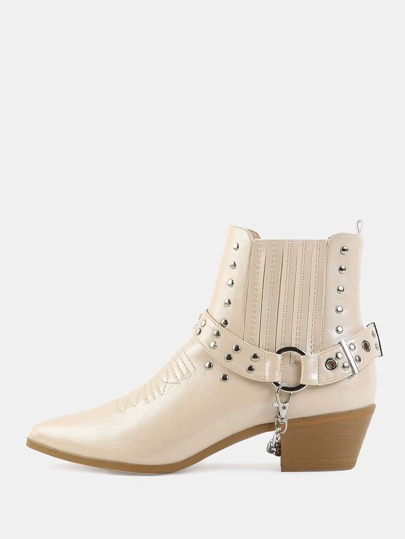 Studded Cowboy Ankle Booties NUDE