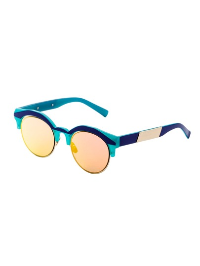 Green Frame Round Lens Sunglasses