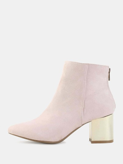 Pointy Toe Suede Metallic Heel Booties NUDE