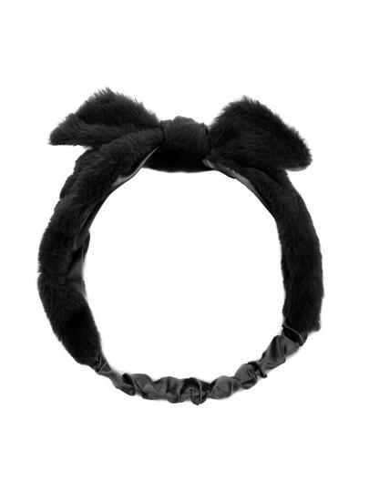 Чёрная искусственная меховая повязка для волос с бантом