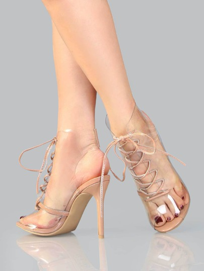 Lace Up Stiletto Clear Ankle Booties TAUPE