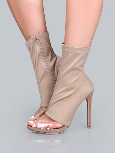 Transparent Peep Toe Stiletto Booties TAUPE