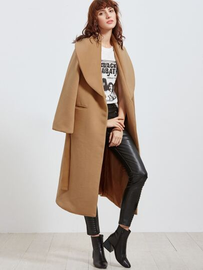 Khaki Oversized Shawl Collar Wrap Coat