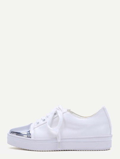 White Contrast Tone Lace Up Shoes