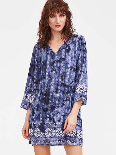 Vestido de manga 3/4 con estampado y flecos - azul