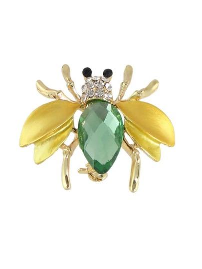 Broche en forme d'abeille large avec strass couleur blond