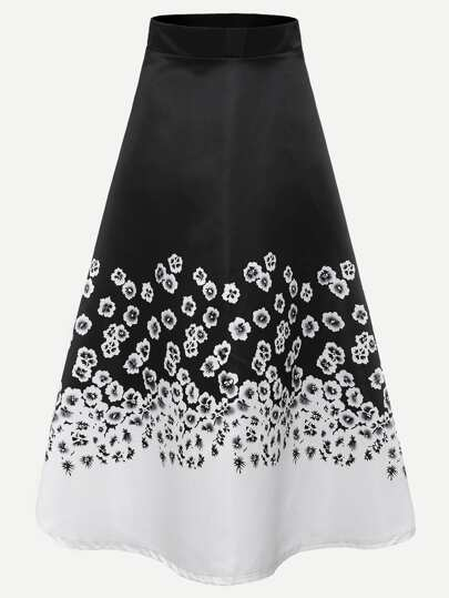 Floral Print Zipper Back A-Line Skirt