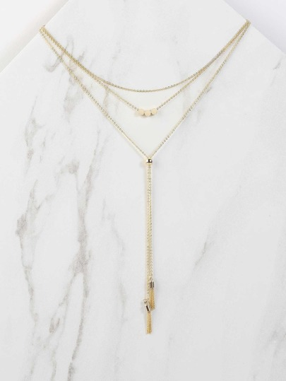Metallic Tassel Lariat Necklace GOLD