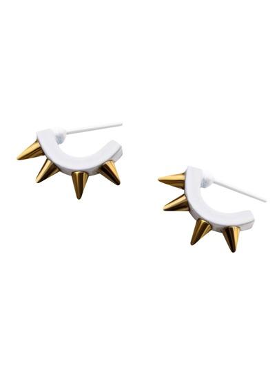 White Rivet Trim Rock Earrings