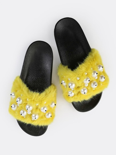 Open Toe Faux Fur Pearl Sandals YELLOW