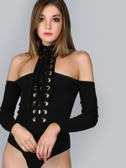 Eyelet Lace Up Harness Choker Neck Bodysuit
