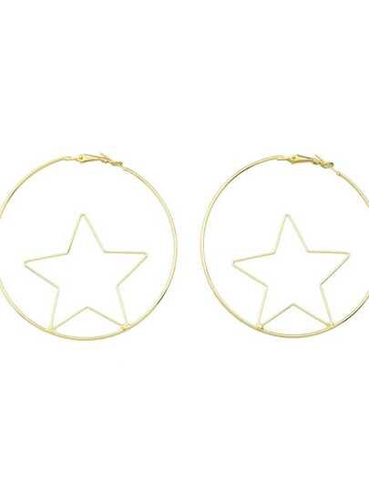 Boucles d'oreilles en forme d'étoile avec cercle large couleur blond