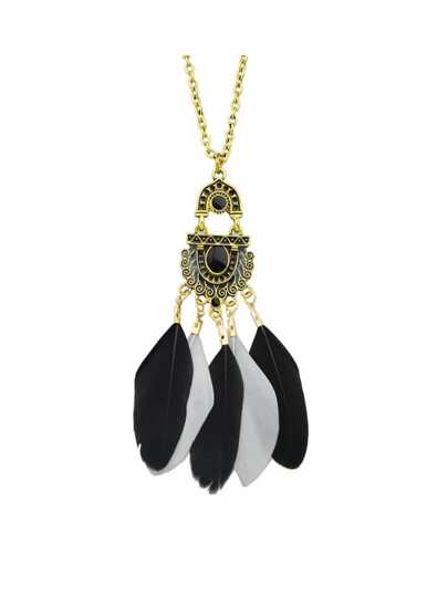 Black Color Feather Long Pendant Necklaces