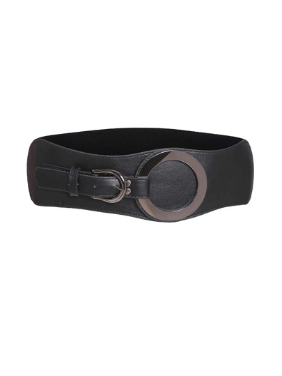 Black Ring Detail Faux Leather Waist Belt