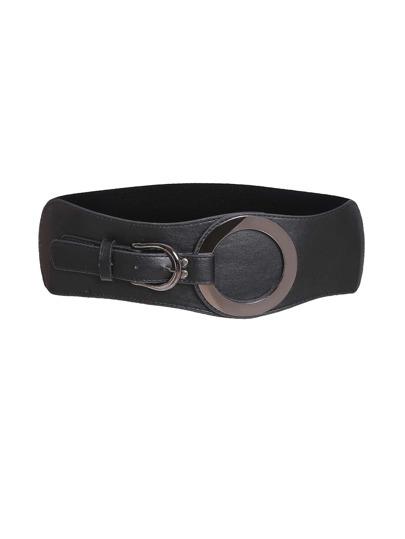 Cinturón con detalle de anillo de cuero sintético - negro