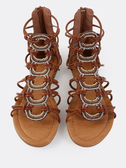 Beaded Open Toe Gladiator Sandals COGNAC