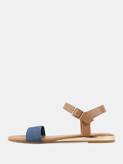 Duo Material Open Toe Sandals BLUE DENIM