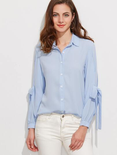 Blue Bow Tie Sleeve Button Up Blouse