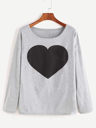 T-Shirt Maniche Lunghe Stampa Cuore - Grigio