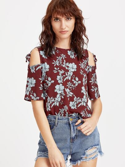 Flower Print Tied Open Shoulder Top