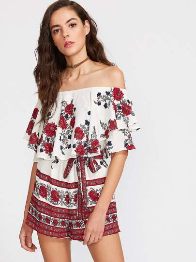 Multicolor Flower Print Ruffle Off The Shoulder Belted Romper