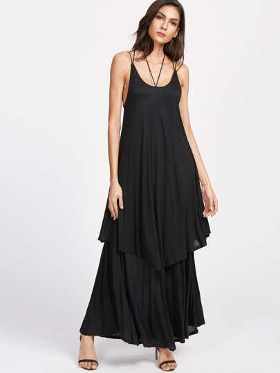 Black Lace Up Back Layered Cami Dress