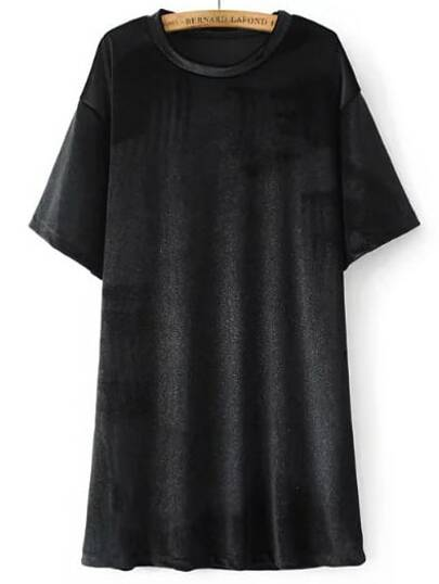Black Letter Print Short Sleeve Velvet Dress