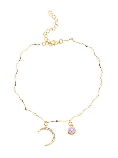 Collier pendentif en forme de lune d'or