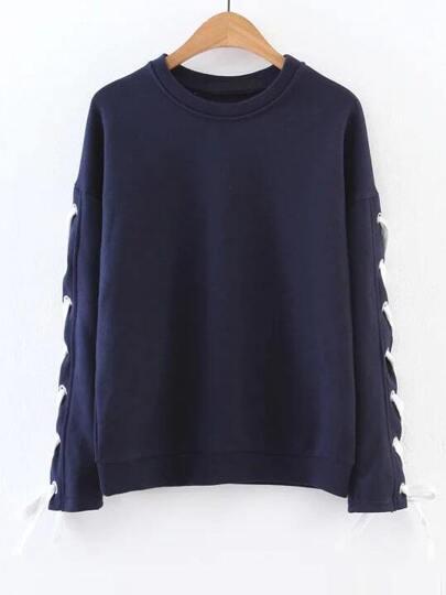 Navy Eyelet Lace Up Sleeve Sweatshirt