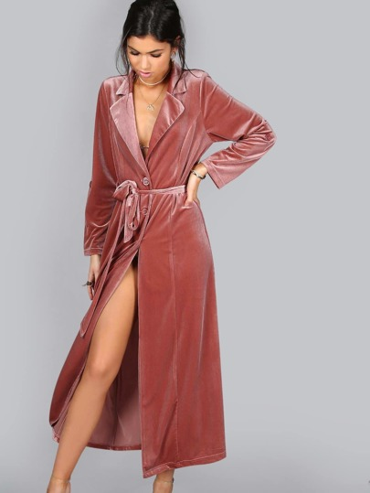 Velvet Trench Coat Dress MAUVE