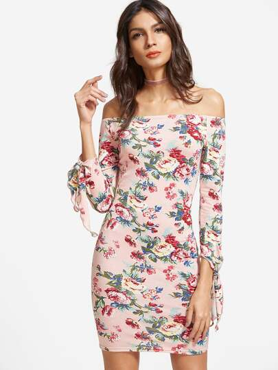 Pink Floral Print Off The Shoulder Tie Sleeve Bodycon Dress