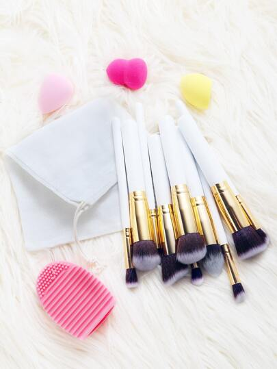 Blender Sponge Cleaner Brush Set And 10Pcs Makeup Brushes With Bag