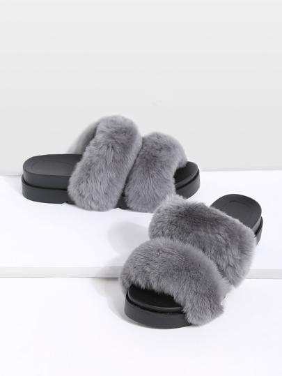 Grey Rabbit Hair Peep Toe Flatform Slippers