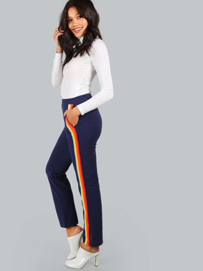 Navy Side Striped Straight Pants