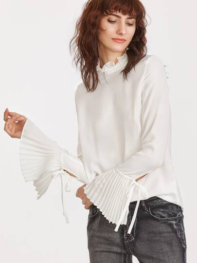 White Ruffle Collar Pleated Bell Sleeve Top